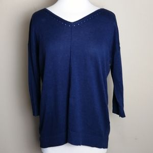 Chico's blue v-neck sweater with open back